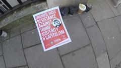 4K Socialist Poster anti Trump protest US Embassy London Stock Footage