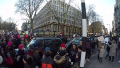 4K anti Trump rally crowd moving to US Embassy London after inauguration day Stock Footage