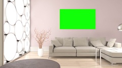 Living room with empty at green screen on picture frames Stock Footage