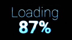 Loading percent text holo blue Stock Footage