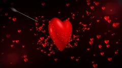 3d heart get shot by cupid arrow and burst into little hearts valentine concept Stock Footage
