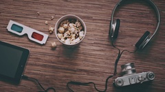 Cinema and Entertainment Concept, Digital tablet, popcorn, 3D glasses, Top view Stock Footage