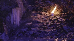 Colorful frozen waterfall with candles Stock Footage