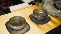 Pouring tea with the help of ladle.Tea ceremony Stock Footage