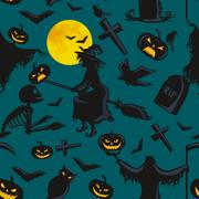 Witch on a broomstick under  full moon with skeletons and pumpkins to the c.. Stock Illustration