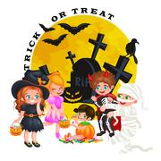 Cute colorful Halloween kids in costume for party set isolated vector illus.. Stock Illustration