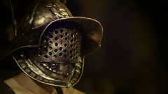 Roman empire fighter wearing gladiator helmet Stock Footage
