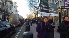 4K Pan from US Embassy London to anti Trump protest Stock Footage