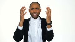 Irritated furious african business man in formalwear shouting Stock Footage