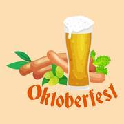 Germany beer festival oktoberfest, bavarian  in glass mug, traditional part.. Stock Illustration