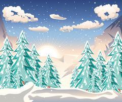 Winter Forest Landscape Stock Illustration