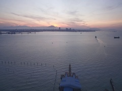 Early Morning Over Penang Ferry Terminal and Butterworth, Malaysia  Stock Footage