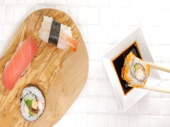 Pick and dip crab sushi in soy sauce Stock Footage
