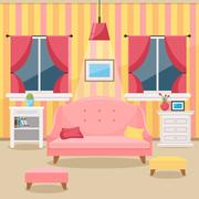 Living room with furniture. Cozy interior. Flat style vector Piirros