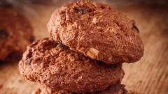 Chocolate cookies closeup Stock Footage