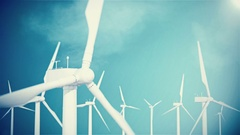 4K resolution, wind turbine, generator on sky background with clouds. 3d Stock Footage