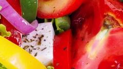Fresh vegetable greek salad. Stock Footage