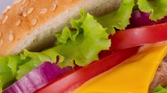 Fast food eat. Burger and French Fries on the plate. Stock Footage