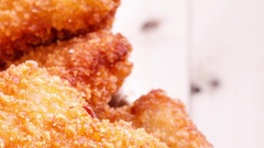 Several pieces of chicken nuggets Stock Footage