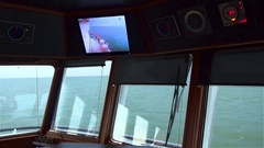 View of calm turquoise sea through window of ship. Clear day Stock Footage