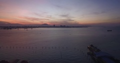 Ascending Aerial Shot From Penang Towards Butterworth at Twilight Stock Footage