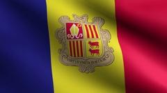 Andorra Flag. Seamless Looping Stock Footage