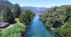 Aerial drone scene of river tributary of Correntoso lake, Patagonia Stock Footage