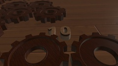 3D Countdown with Wooden Gears 4K Stock Footage