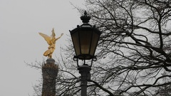 Germany, Berlin, Victory Column, Street Lamp, January 8, 2017 Stock Footage