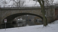 Germany, Berlin, S-Bahn bridge over the river in the Tiergarten park 8, 2017 Stock Footage