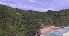 Aerial shot of secluded beach in Java Stock Footage