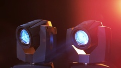LED Head Spots Giving Light in Different Colors Stock Footage