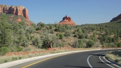 Driving towards Courthouse Butte and Bell Rock, Sedona, Arizona Stock Footage