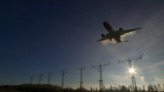 Huge airplane arrival back light sun airport localizing ils system Stock Footage