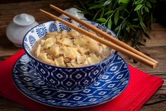 Mushroom soup with noodles. Stock Photos