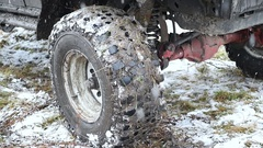 11. 10. 16, Russia, Novosibirsk, Salair Rubilovo. Big jeep in lumps of mud after Stock Footage