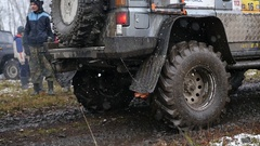 11. 10. 16, Russia, Novosibirsk, Salair Rubilovo. Large jeep is prepared to Stock Footage