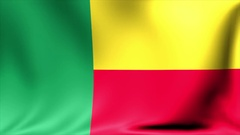 Benin Flag. Background Seamless Looping Animation. 4K High Definition Video Stock Footage