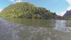 Nam Ou river landscapes, slow motion Stock Footage