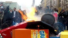 Anti-Trump riots on Inauguration Day in Washington, D.C. Stock Footage