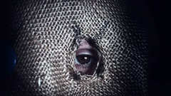 4K Horror Scarecrow with Sackcloth Mask, zoom in eye close-up Stock Footage