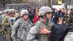 National Guard protects businesses during anti-Trump riots in Washington, D.C. Stock Footage