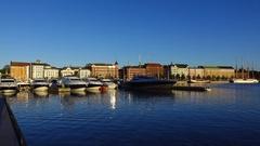 Pohjoisranta embankment at early morning, pan shot from waterside Stock Footage
