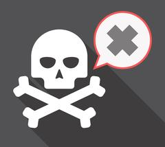 Long shadow skull with an irritating substance sign Stock Illustration