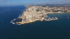 Aerial footage of the Port and old city of Acre, Israel. Stock Footage