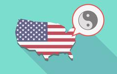 Long shadow USA map with a ying yang Stock Illustration