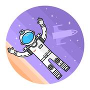 Astronaut in space. Human mission to Mars Stock Illustration