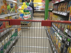 Consumer shopping carts in the market  Stock Footage