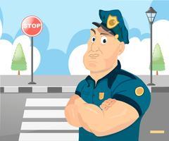 Policeman officer on city background Stock Illustration