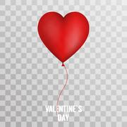 Valentines Day red balloon heart on transparent background Stock Illustration